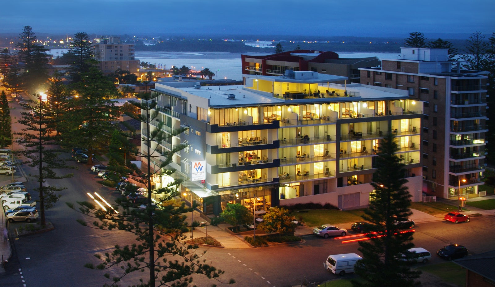Macquarie Waters boutique hotel at night in Port Macquarie
