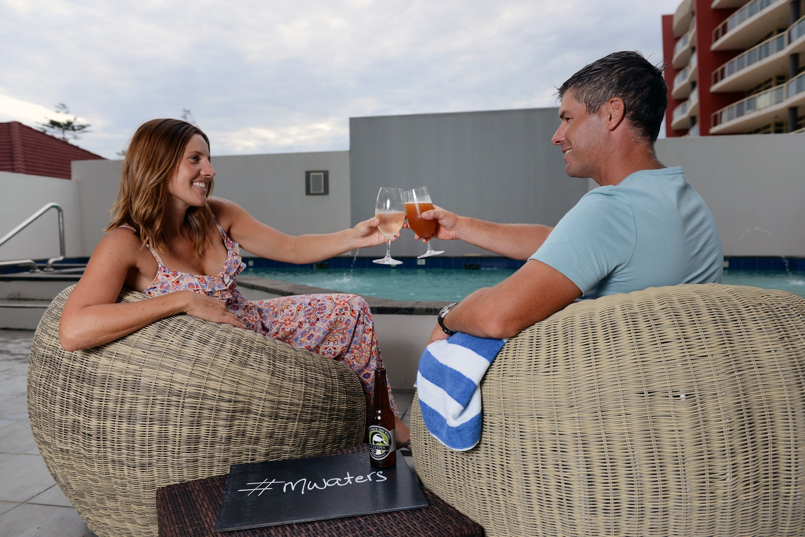 Couple Drinks beside the Pool at Macquarie Waters Hotel
