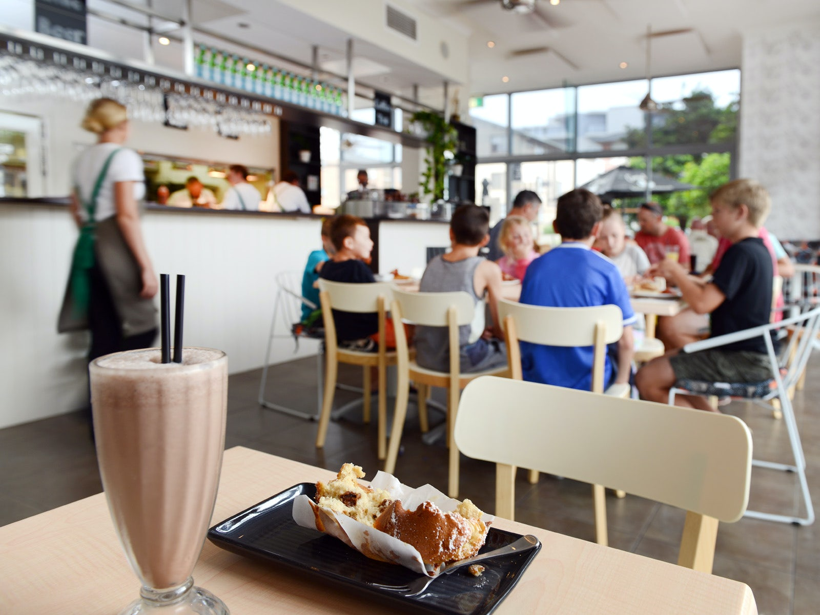 kids meal milkshake and muffin at macquarie waters restaurant